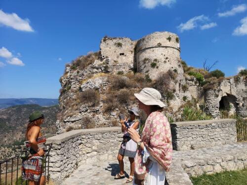 Tourists at Gerace Castle enjoying the amazingview!